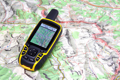 GPS receiver and map.